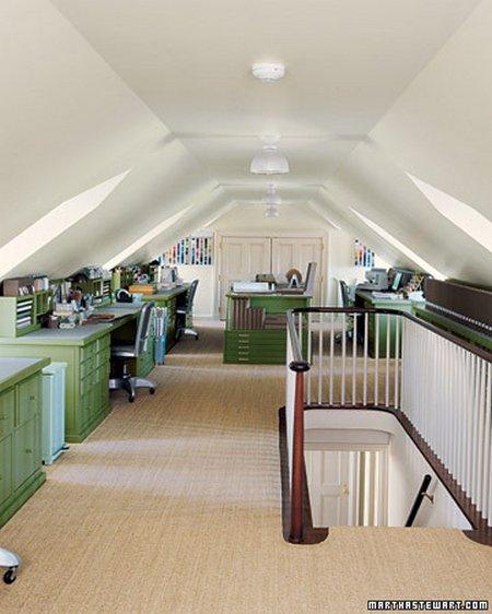 Martha Stewart has a craft studio in her attic. It's so spacious
