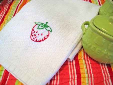 sublime strawberry tea towel