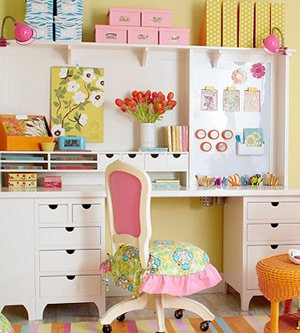 A Tall Hutch Above This Narrow Desk Provides Floor To Ceiling Craft Supply  Storage! Isnu0027t It Pretty? It Keeps All Your Supplies Within Your Reach And  ...