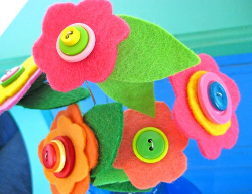button felt flower bouquet