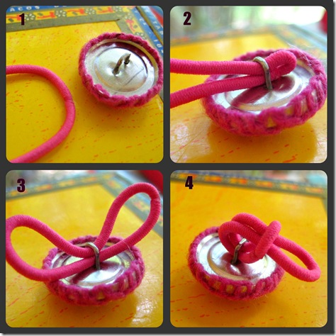 Making a button ponytail holder 3