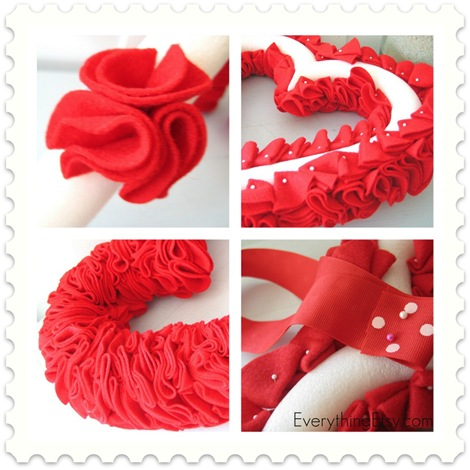 Valentine S Day Felt Heart Wreath Tutorial Everythingetsy Com