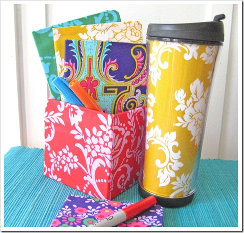 fabric covered box set and cup