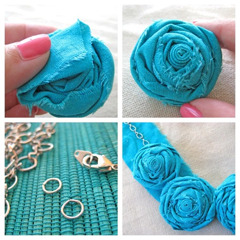 fabric rosette necklace collage 3