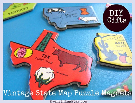DIY Gifts - State Puzzle Magnets - Everything Etsy.com