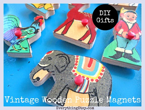DIY Gifts - Vintage Puzzle Piece Magnets - Everything Etsy 4