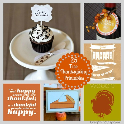 25 Free Thanksgiving Printables on EverythingEtsy.com