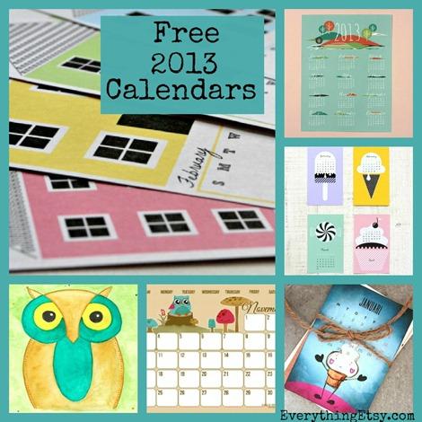 25 Free Printable 2013 Calendars on EverythingEtsy.com
