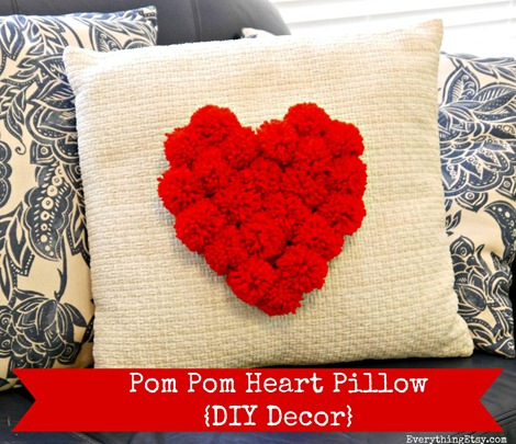 Pom Pom Heart Pillow {DIY Decor} on EverythingEtsy.com