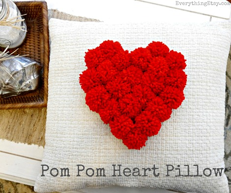 Pom Pom Heart Pillow {DIY}
