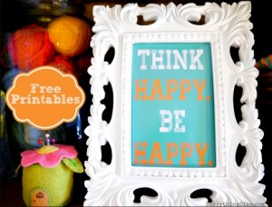 Free Printable Think Happy Be Happy at www.EverythingEtsy.com