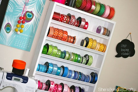 ribbon storage from She's Kinda Crafty