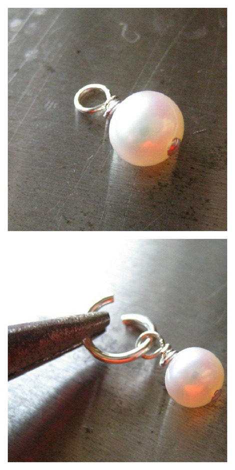 Pearl Charm for Hand Stamped Necklace