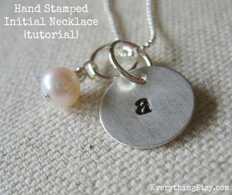 hand stamped initial necklace tutorial on EverytingEtsy.com