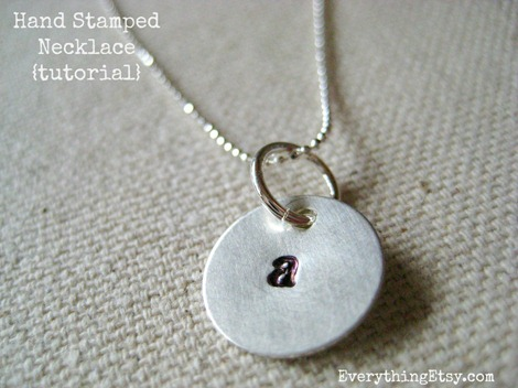 Hand stamped necklace tutorial diy gift everythingetsy hand stamped jewelry initial necklace all done mozeypictures