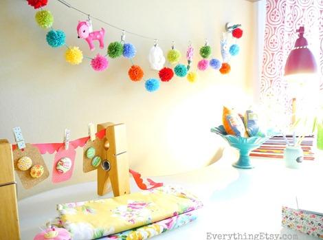 Craft Room @EverythingEtsy - Pom Pom Garland