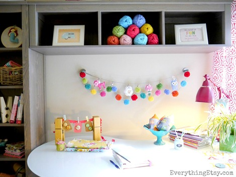 Craft Room - Pom Pom Garland @EverythingEtsy
