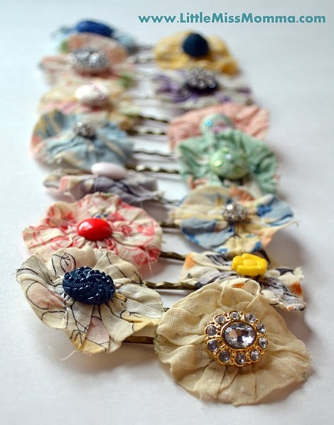 DIY Hair Accessories - flower bobby pins