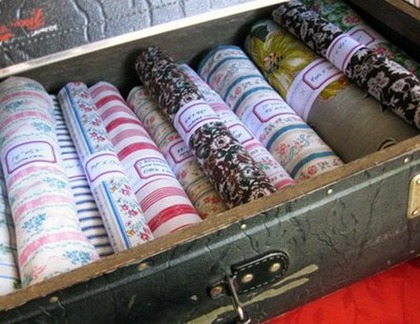 Fabric Scrap Storage - suitcase