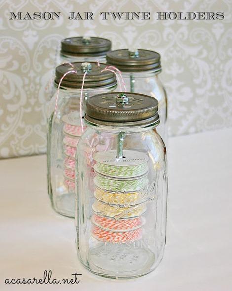 Mason jars with twine