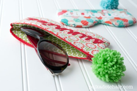 Sunglass Case - Polka Dot Chair & Riley Blake