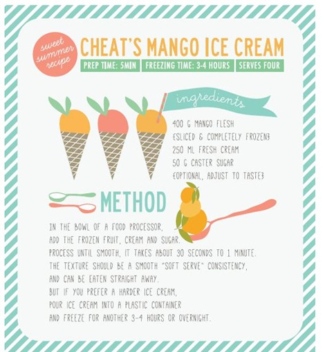 Mango Ice Cream Recipe Printable from The Pretty Blog