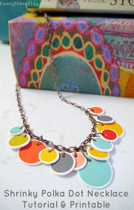 Shrinky Polka Dot Necklace Tutorial & Printable @EverythingEtsy