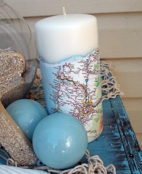 map candle diy