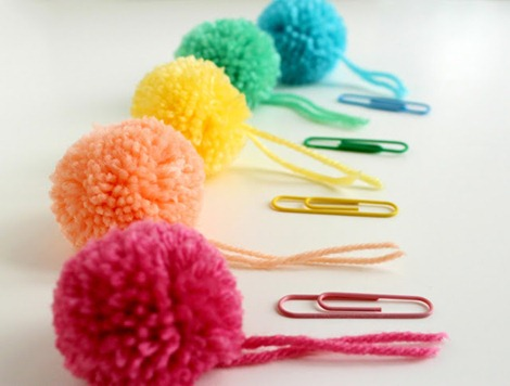 paperclips & pompom bookmarks