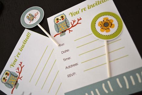 owl free printable invitation