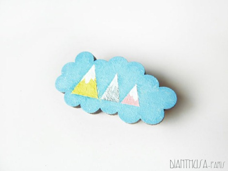 Geometric Cloud Brooch on Etsy
