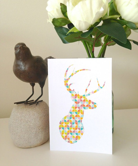 Geometric Deer Greeting Card on etsy