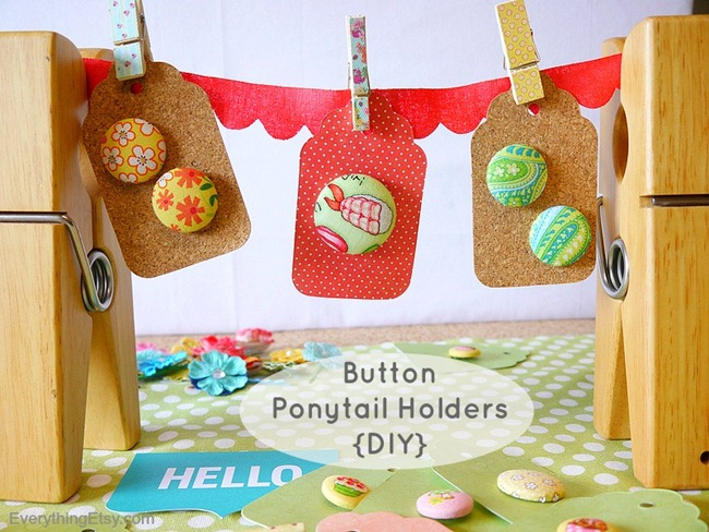 Handmade Gift - Button Ponytail Holders @EverythingEtsy