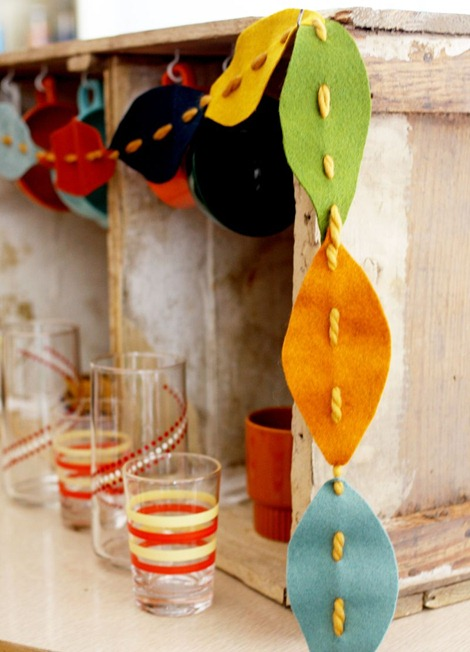 fall felt leaves garland