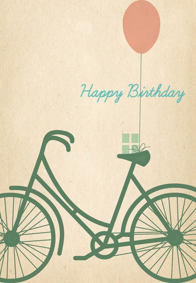 Birthday card printable - bike