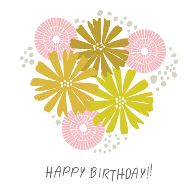 Birthday card printable - floral
