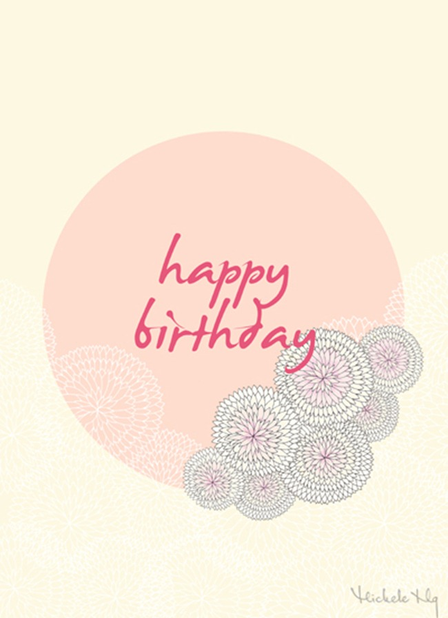 Birthday card printable - pink