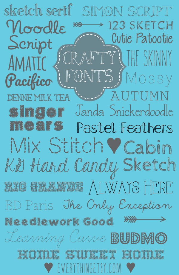 25 Crafty Fonts {free} - EverythingEtsy com