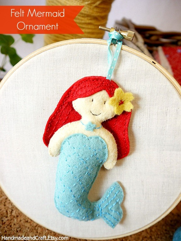 Felt little mermaid pattern plushie ornament for Unique crafts to sell on etsy