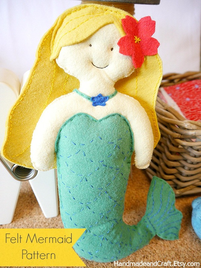 Little Mermaid Felt Pattern by HandmadeandCraft.Etsy