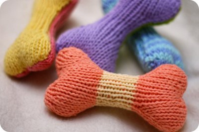 handmade dog toy - knit bone by kris knits