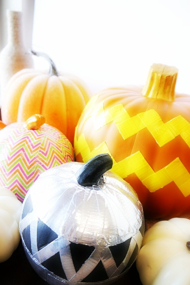 Duck Tape Pumpkins - bunch