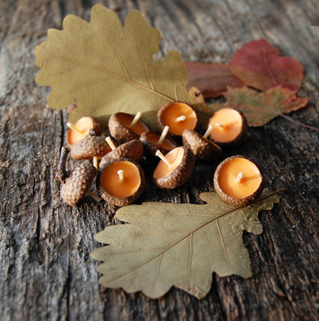 Fall home decor - acorn candles