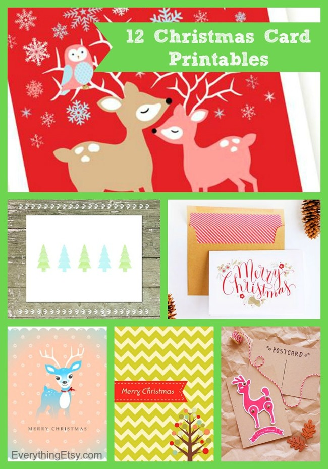12 Christmas Card Printables {free downloads} for the holidays at EverythingEtsy