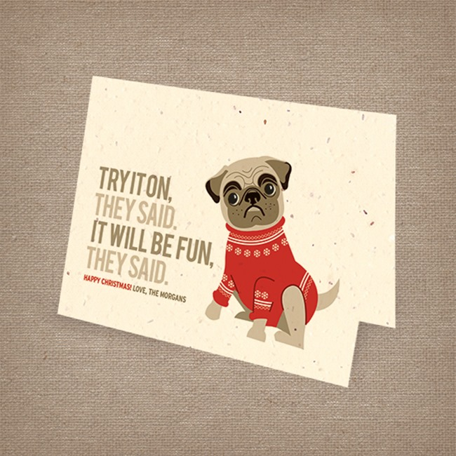Botainical PaperWorks Pug Holiday Cards