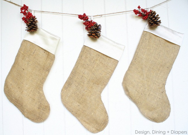 DIY stockings - burlap and berries