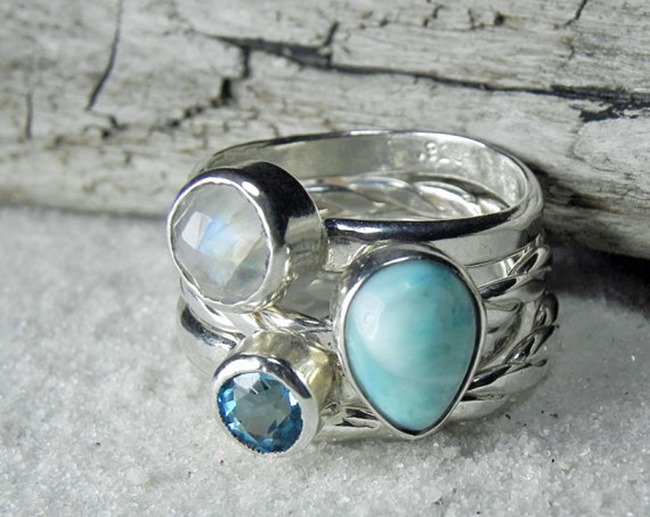 Everything Etsy Holiday Gift Guide - Stacking gemstone rings