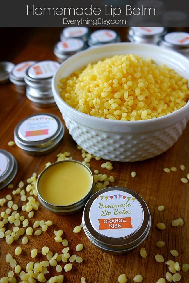 Homemade Lip Balm Recipe on EverythingEtsy.com #DIY
