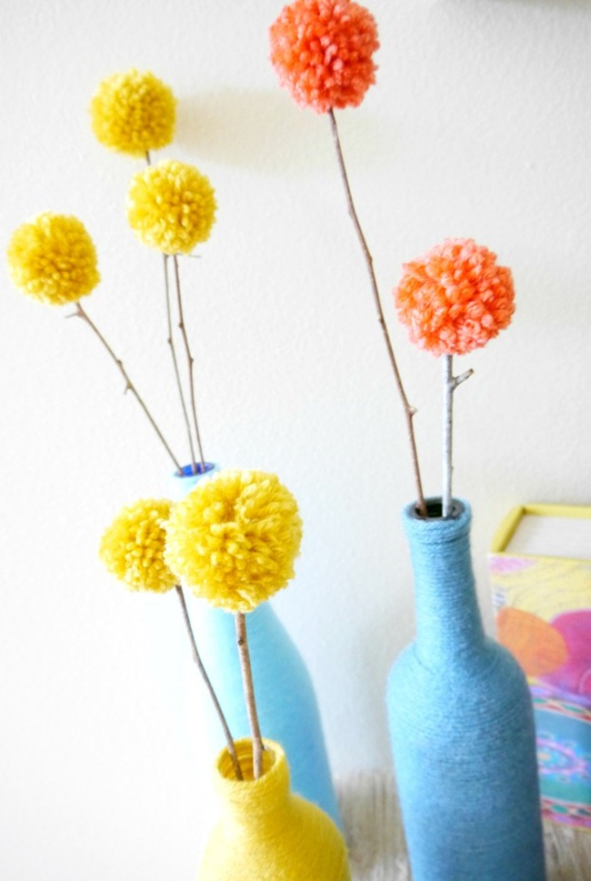Pom Pom Flowers - Handmade Home - EverythingEtsy.com