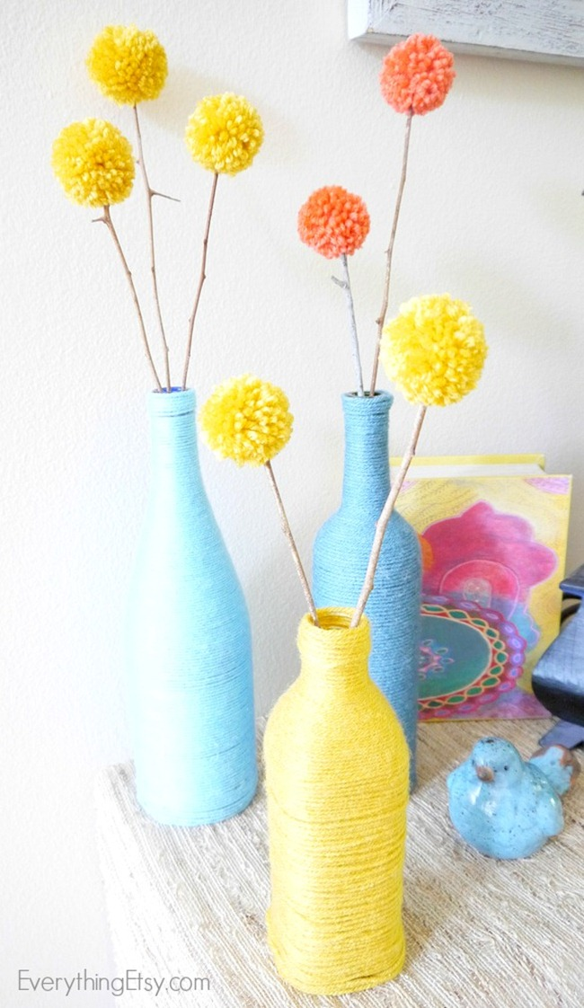 Pom Pom Flowers and Yarn Bottles